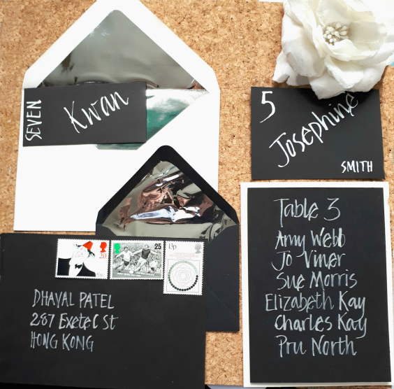 Black and silver themed stationery suite