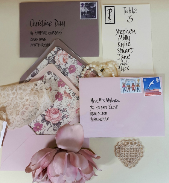 Blush pink themed stationery suite