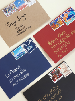Written and stamped envelopes