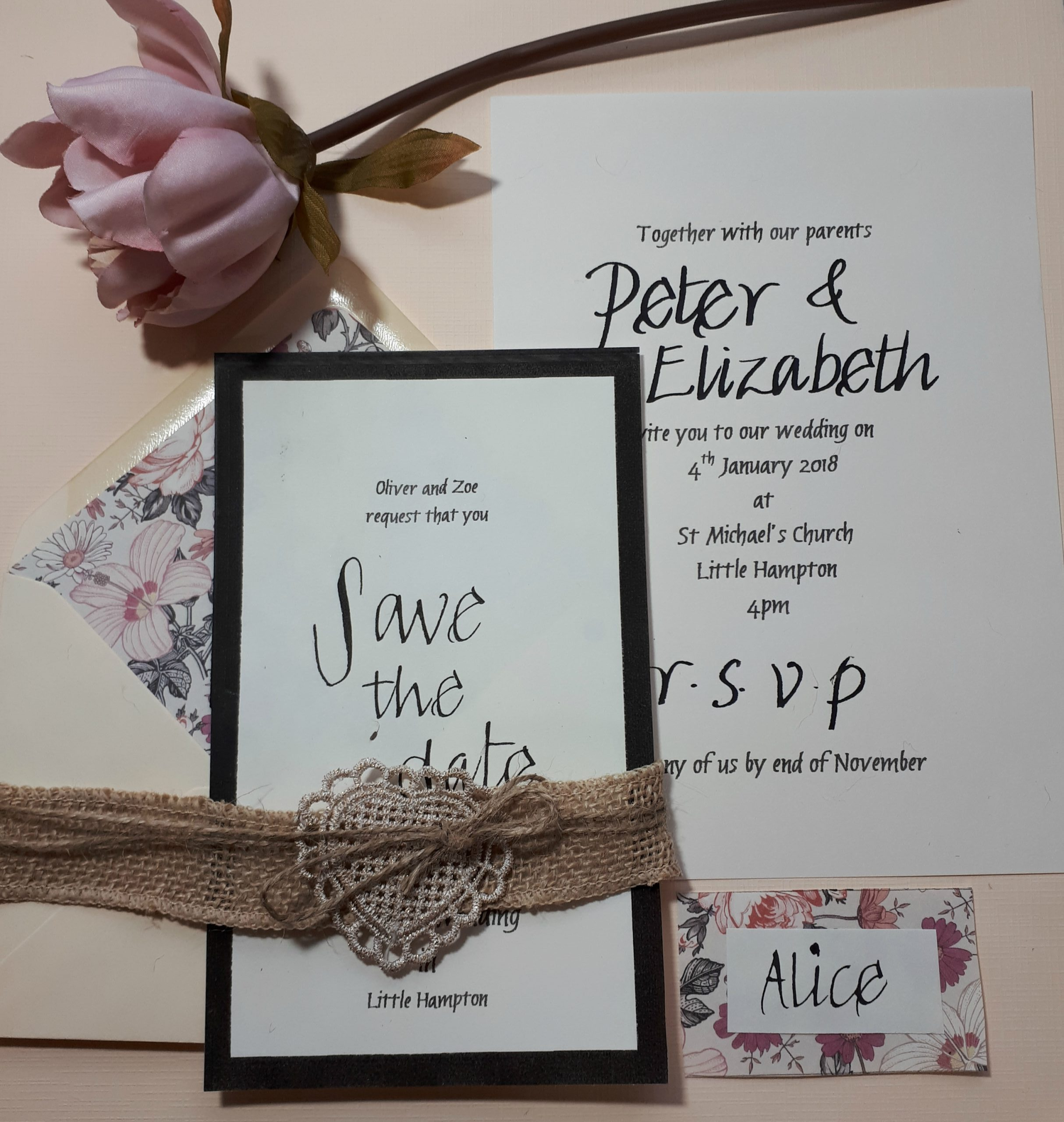 Blush and hessian themed suite