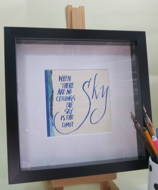box framed quote the sky is the limit blue ink