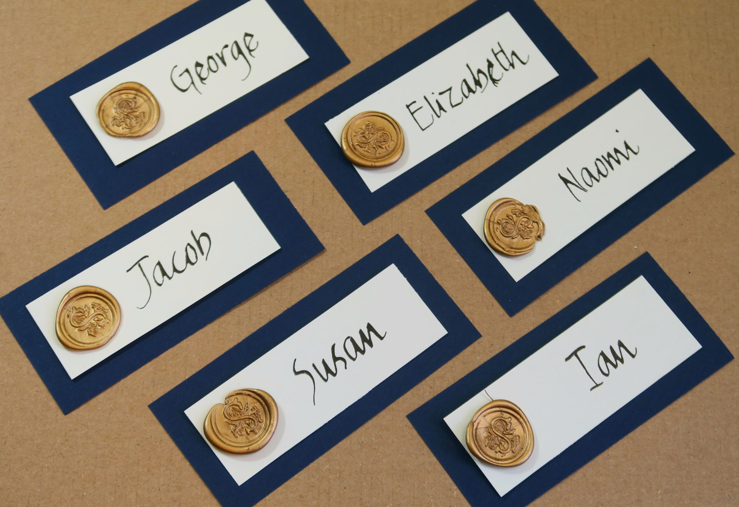 Place cards with wax seal